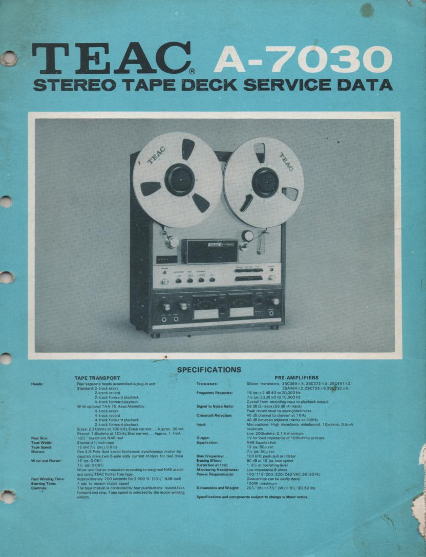 A-7030 Reel to Reel Service Manual  TEAC
