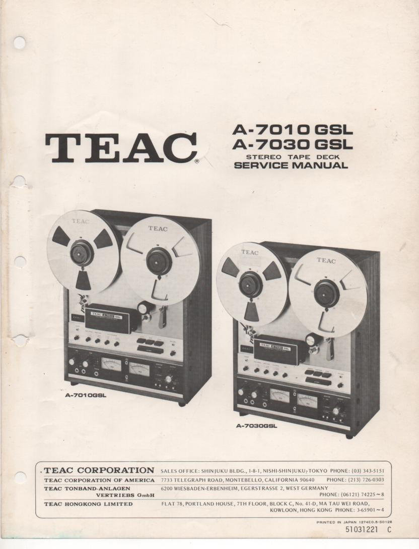 A-7030GSL Reel to Reel Service Manual  TEAC