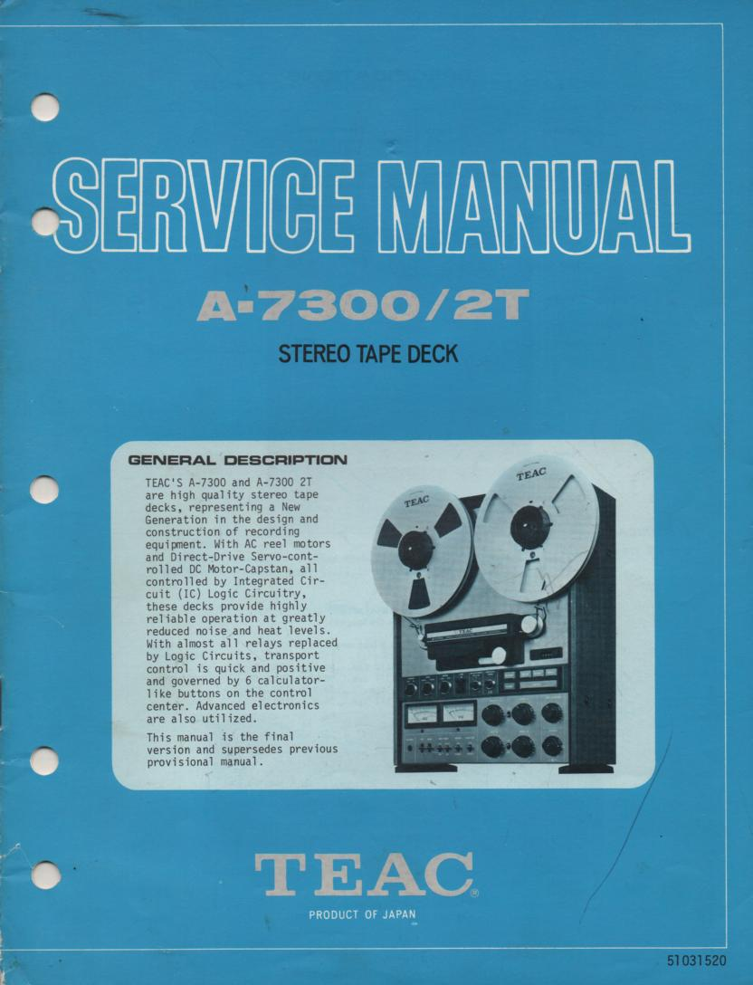 A-7300 A-7300 2T Reel to Reel Service Manual  TEAC