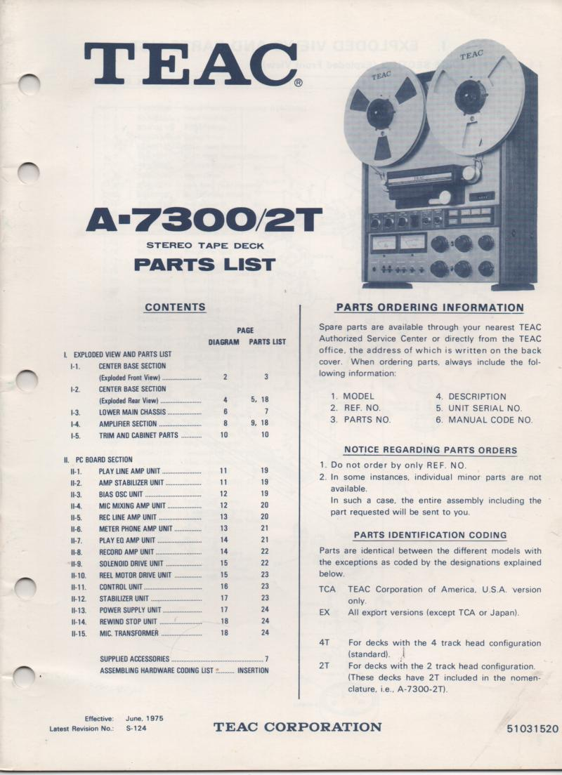 A-7300 A-7300 2T Reel to Reel Service Parts Manual  TEAC