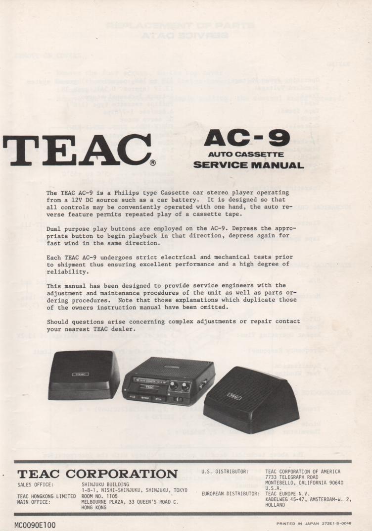 AC-9 Auto Cassette Deck Servide Manual