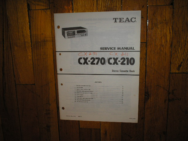 CX-210 CX-211 CX-270 CX-271 Cassette Deck Service Manual
