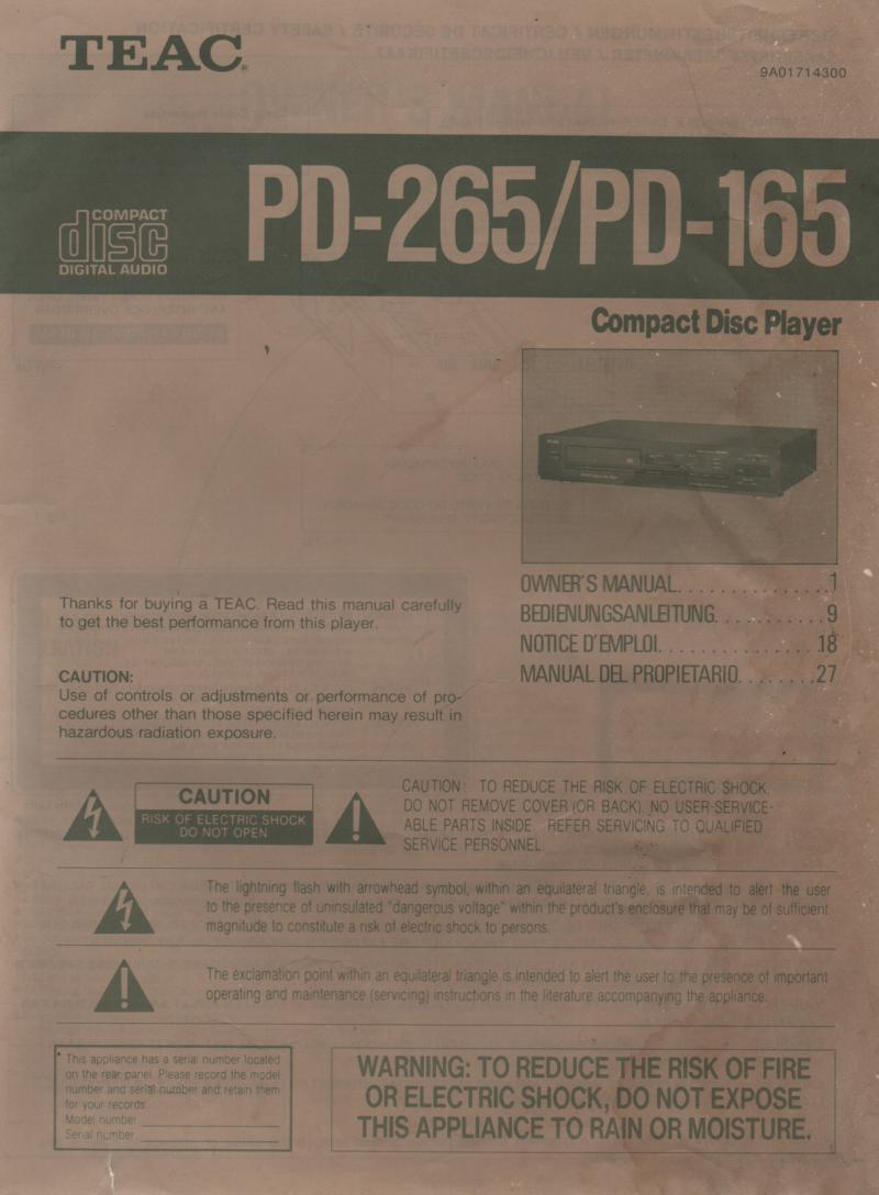 PD-165 PD-265 CD Player Owners Manual.  Manual is in English, German, French and Spanish