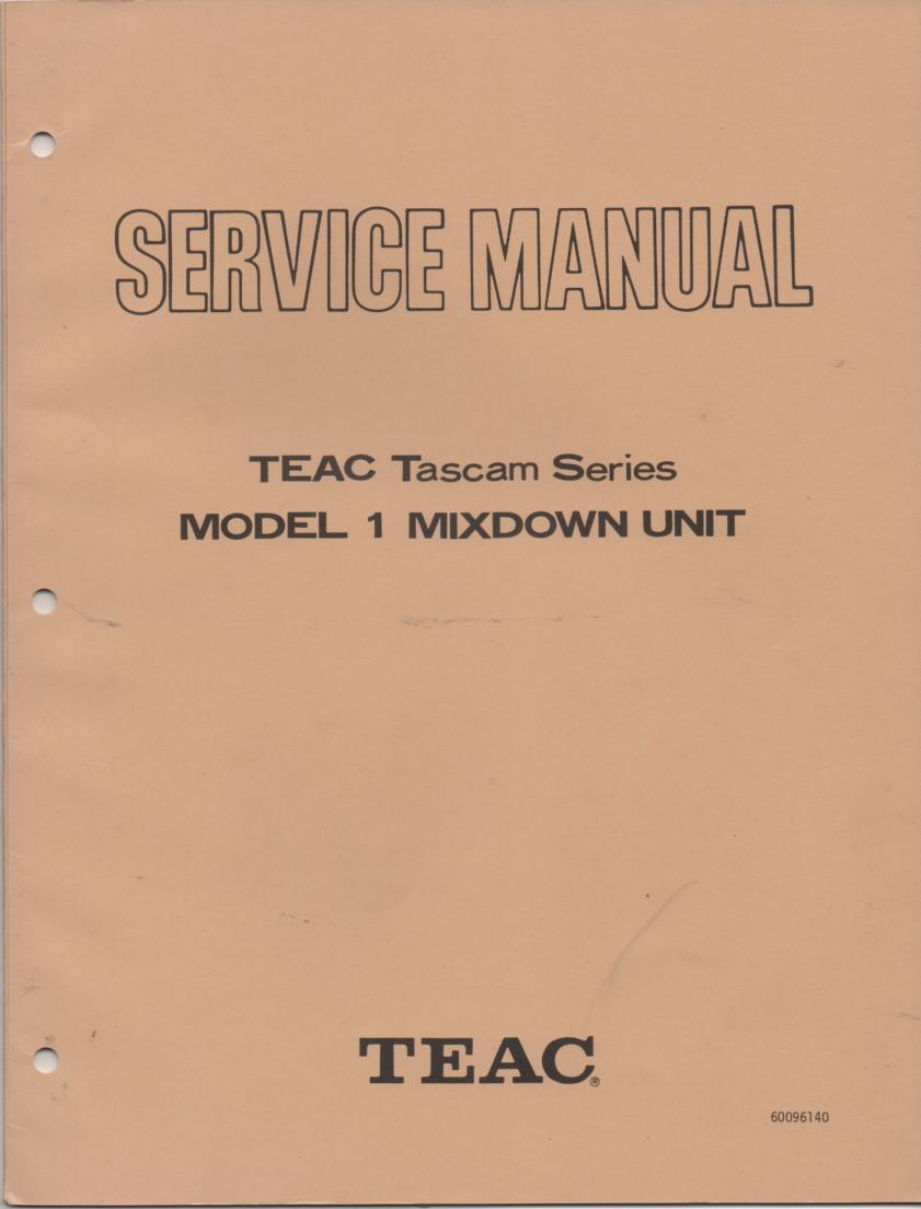 1 Model 1 Mixdown Unit Service Manual