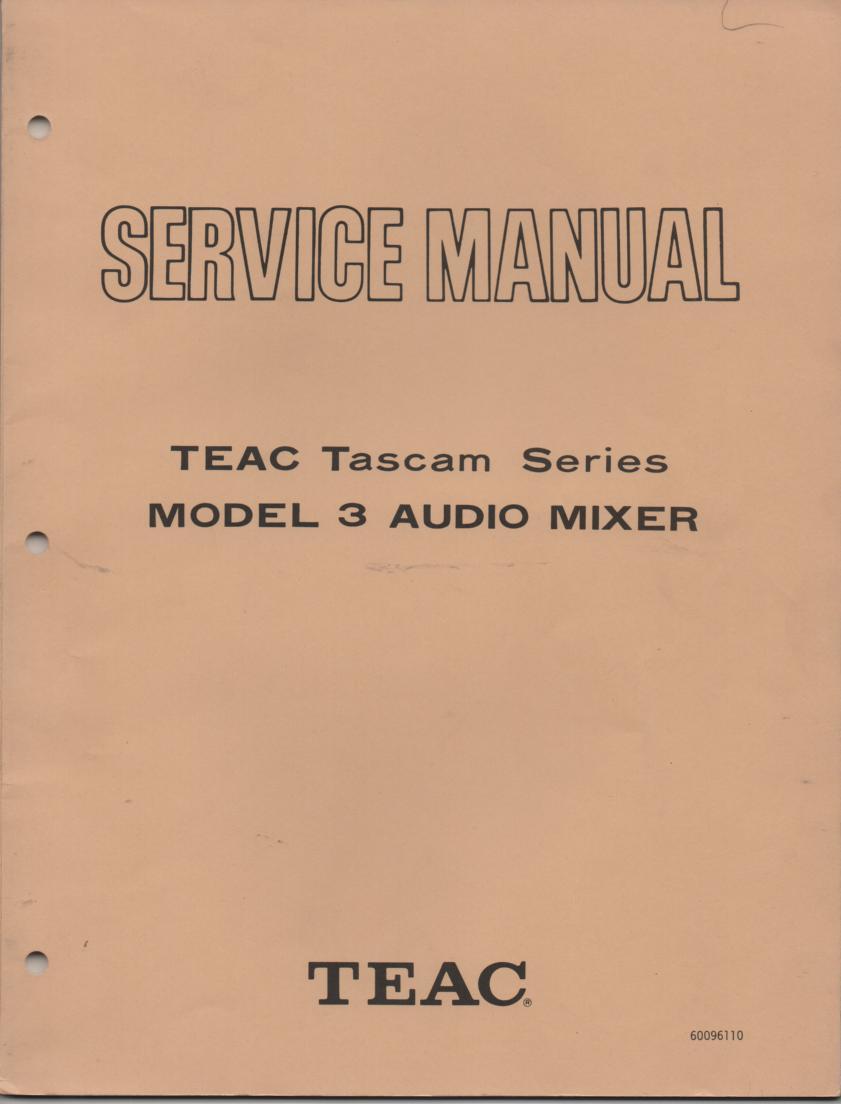 3 Model 3 Audio Mixer Service Manual