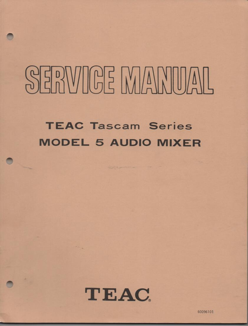 5 Model 5 Audio Mixer Service Manual