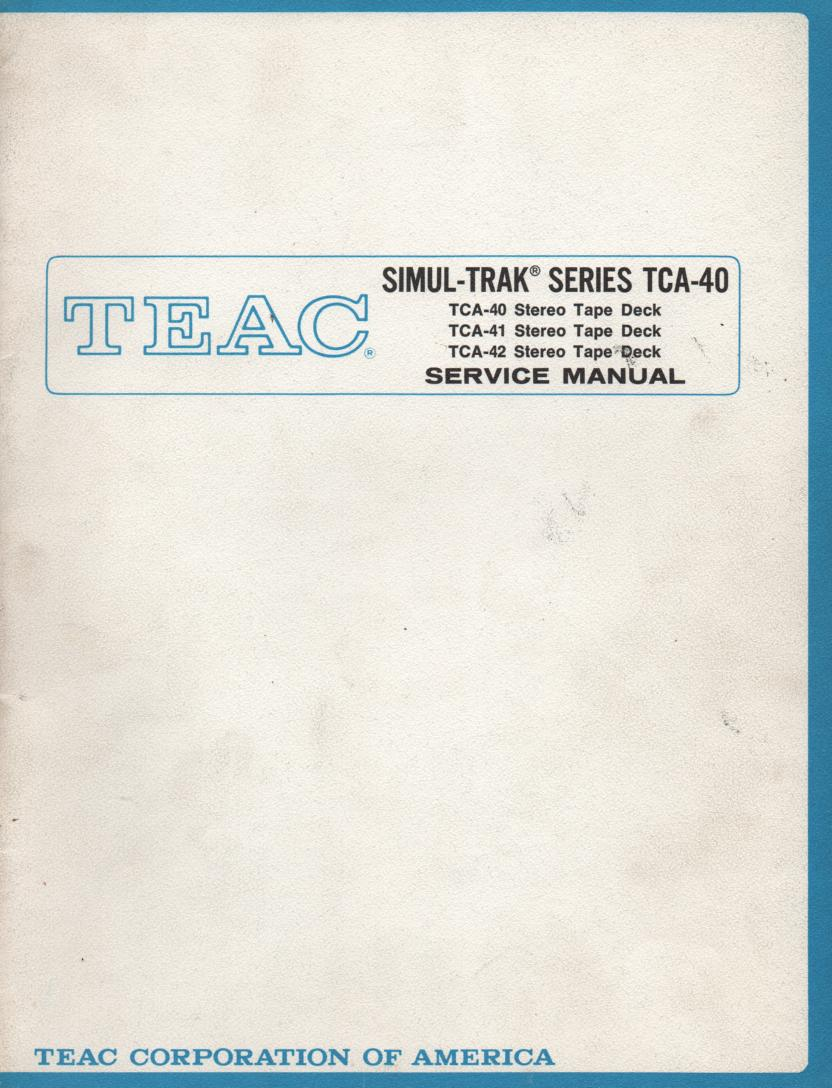 TCA-40 Reel to Reel Service Manual