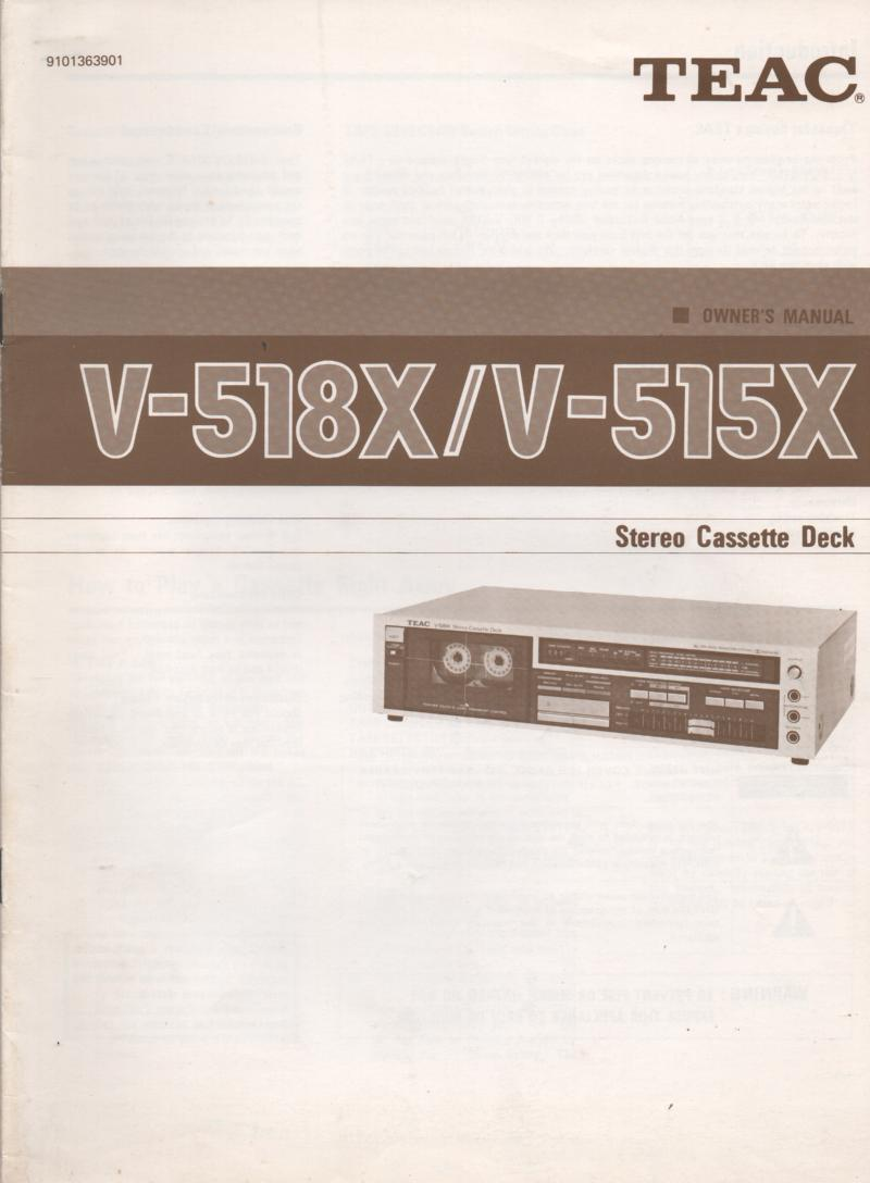 V518XV-515X Cassette Deck Owners Manual.
