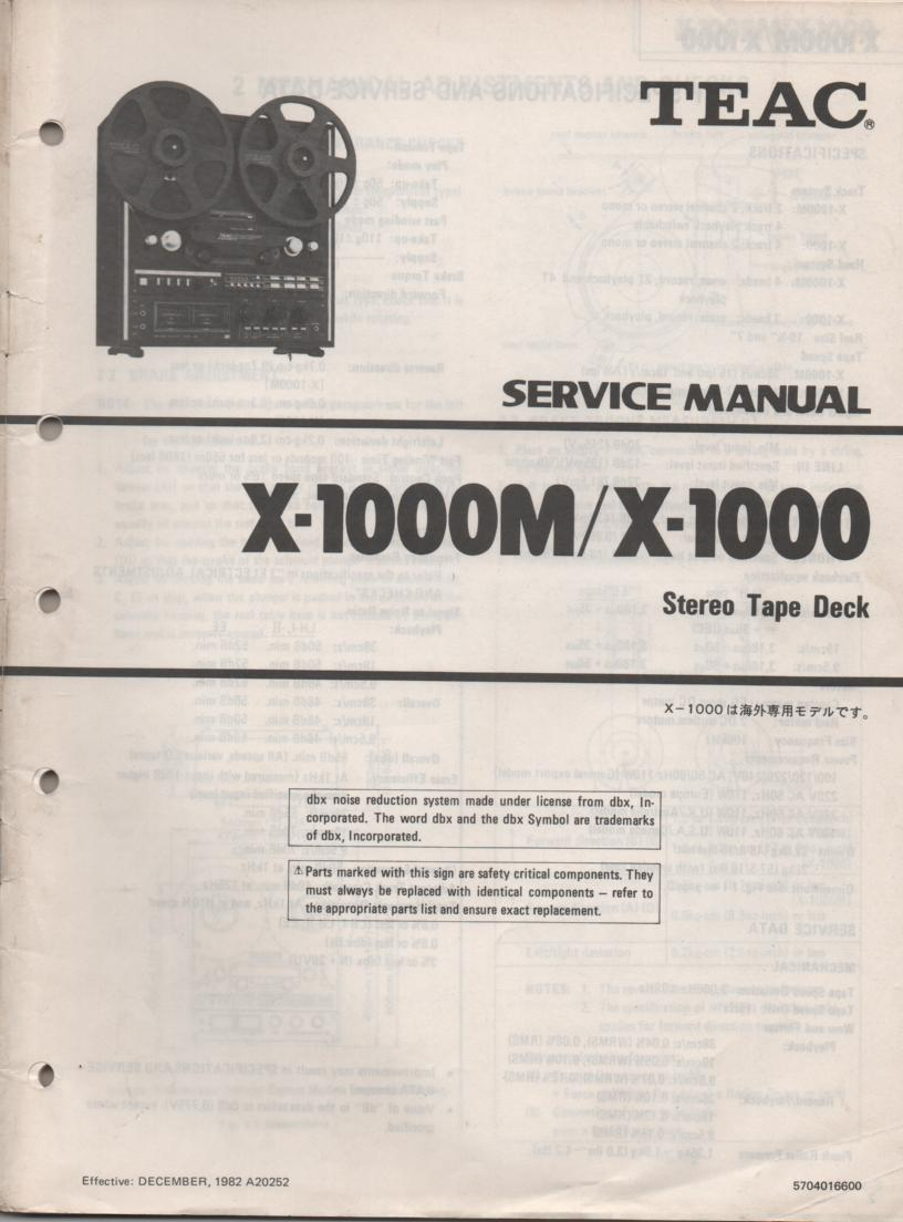 X-1000 X-1000M Reel to Reel Service Manual  TEAC