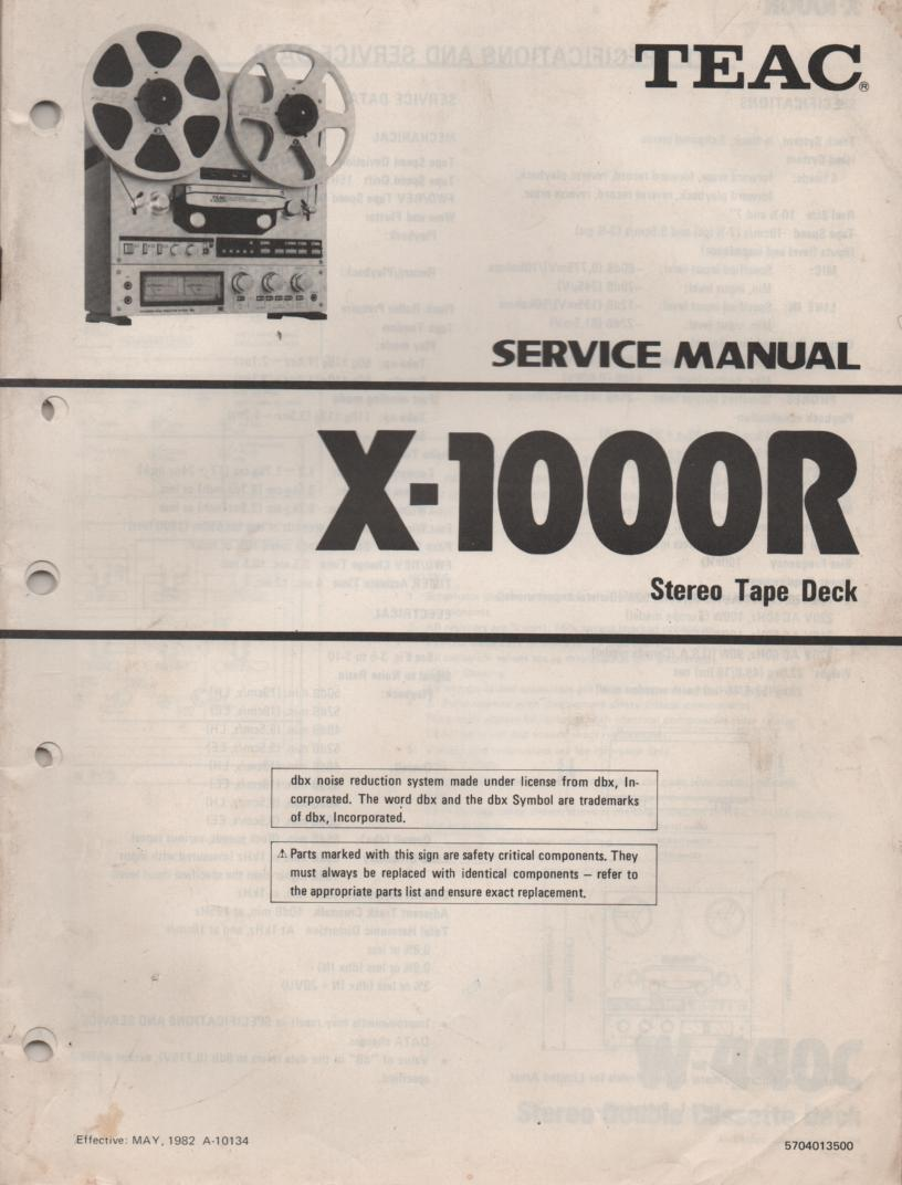 X-1000R Reel to Reel Service Manual  TEAC