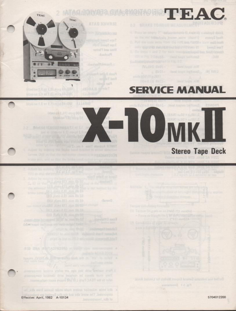 X-10MK II Reel to Reel Service Manual  TEAC