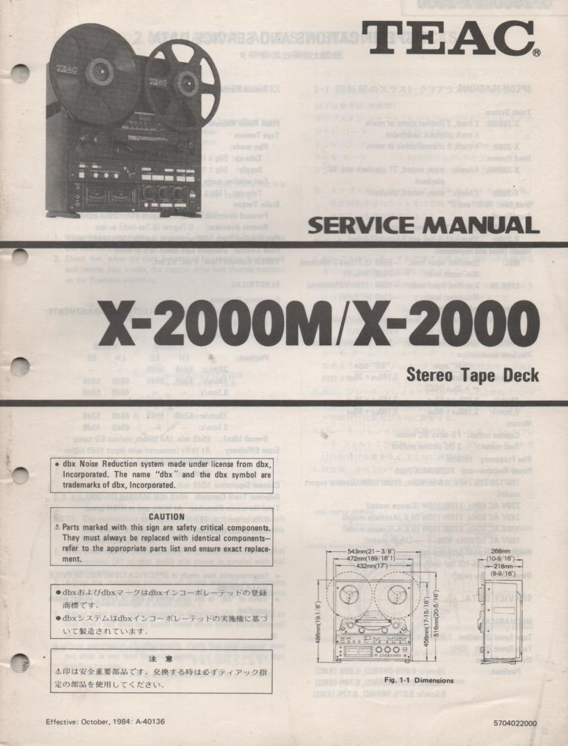X-2000 X-2000M Reel to Reel Service Manual  TEAC