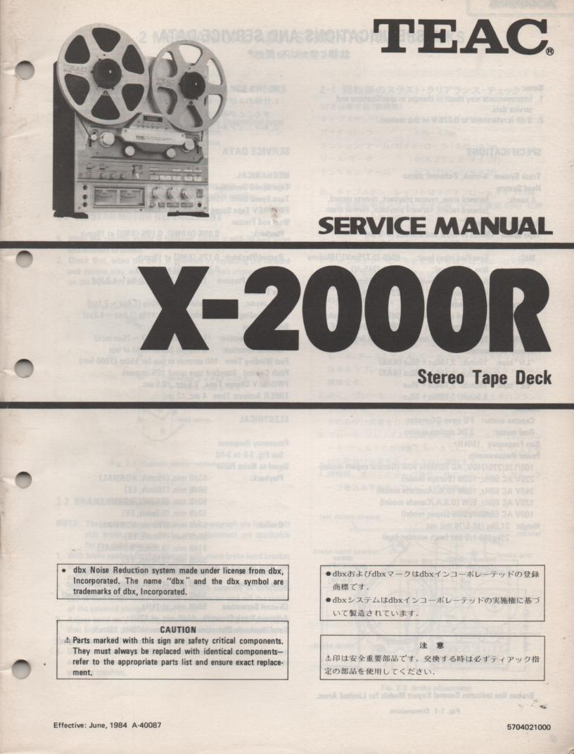 X-2000R Reel to Reel Service Manual  TEAC