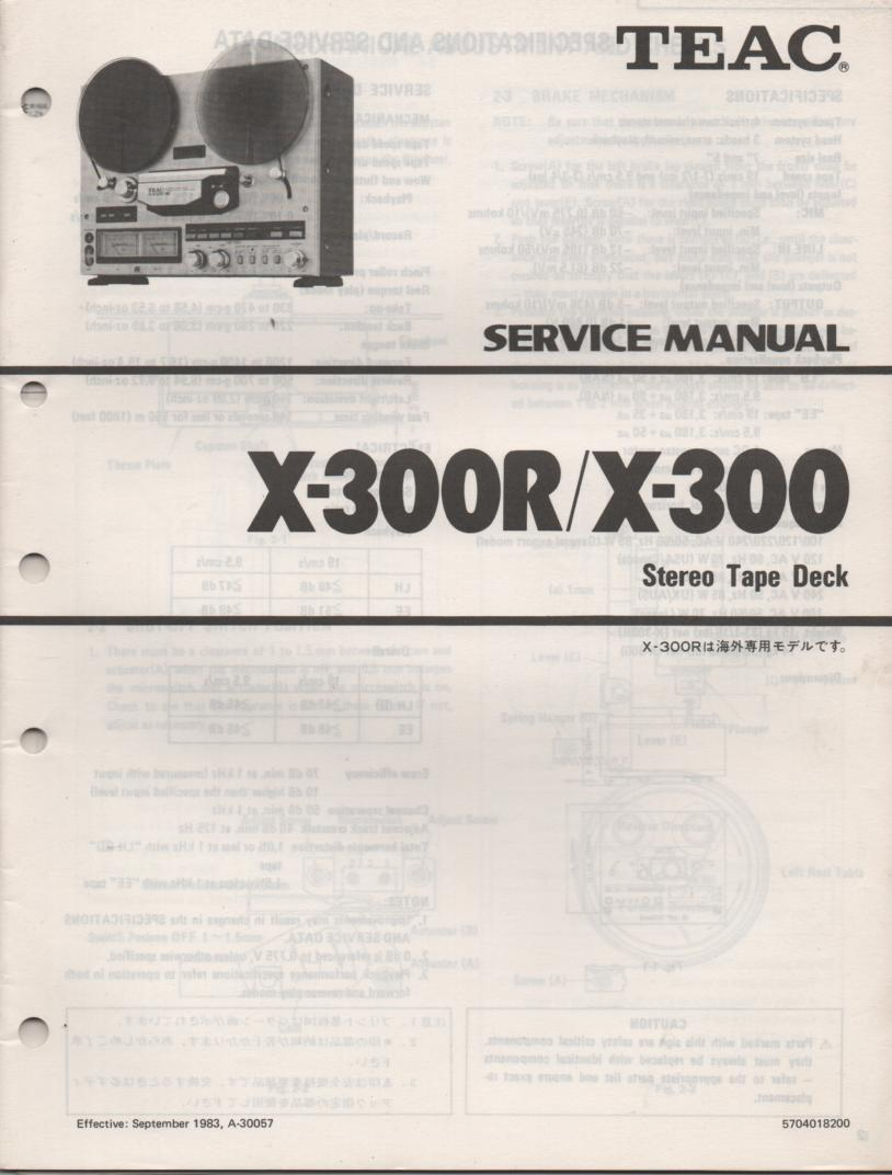 X-300 X-300R Reel to Reel Service Manual  TEAC