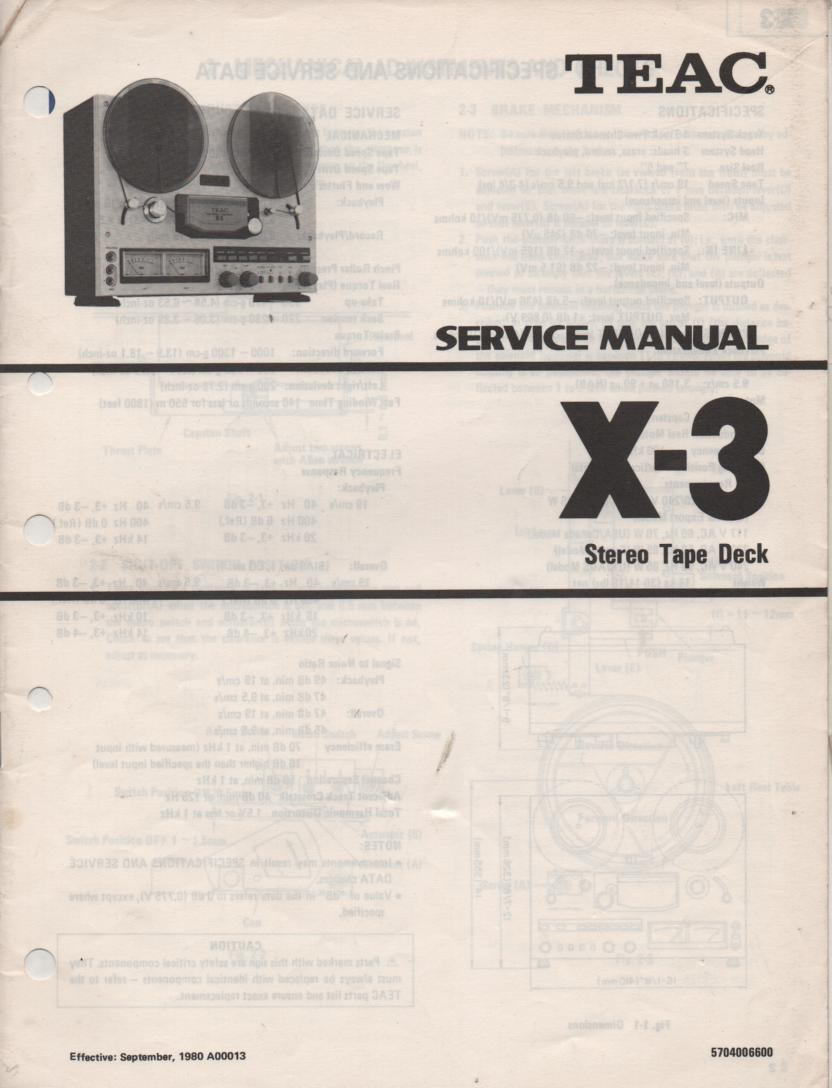 X-3 Reel to Reel Service Manual  TEAC
