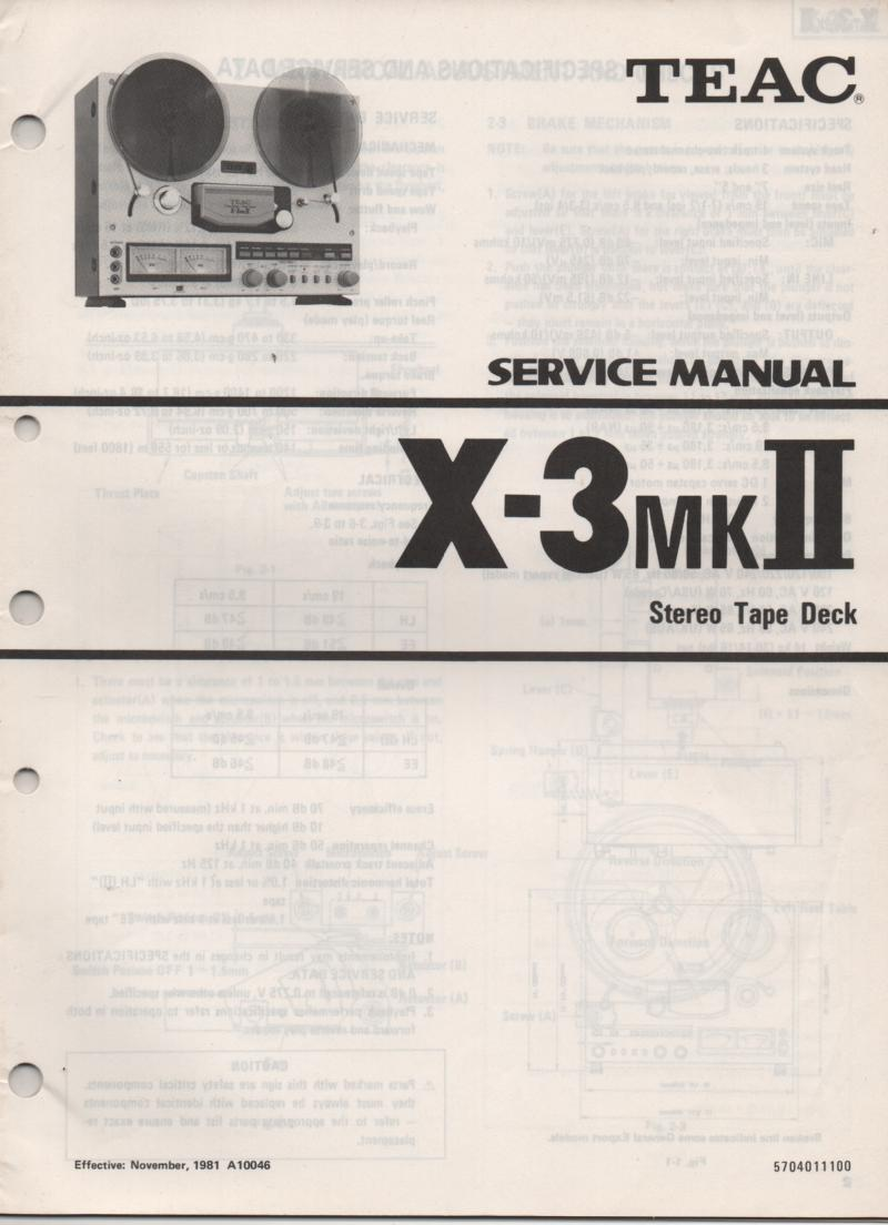 X-3MK II  Reel to Reel Service Manual  TEAC