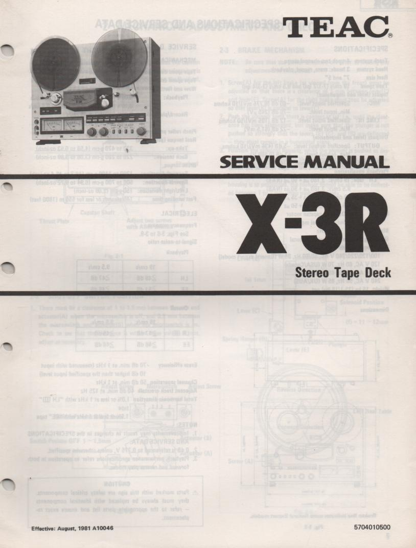 X-3R Reel to Reel Service Manual  TEAC