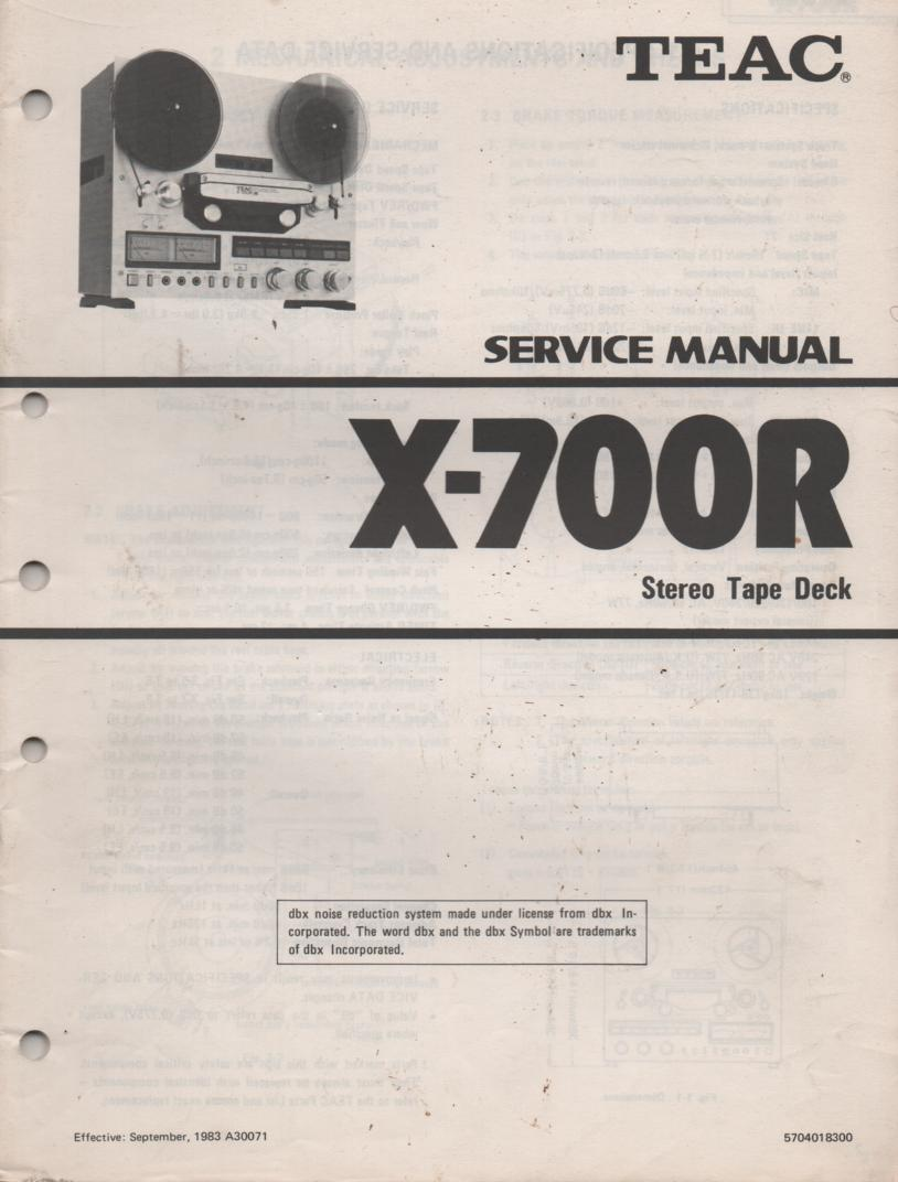 X-700R Reel to Reel Service Manual  TEAC
