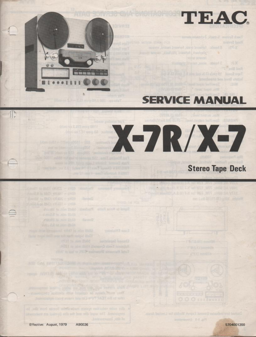 X-7 X-7R Reel to Reel Service Manual  TEAC