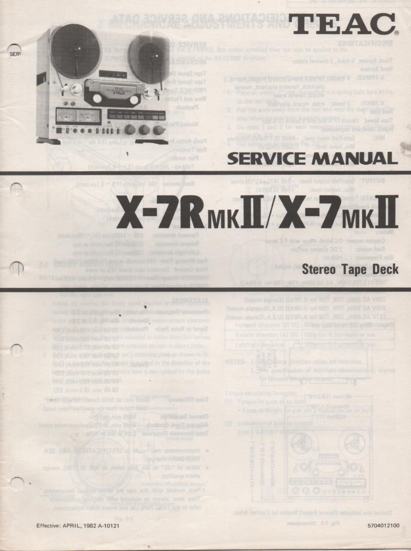 X-7MK II X-7RMK II Reel to Reel Service Manual  TEAC