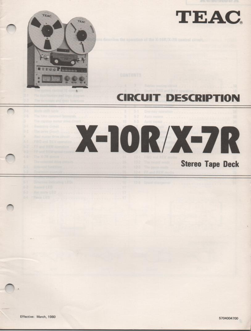 X-7R X-10R Reel to Reel Circuit Description Service Manual