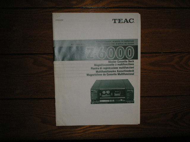 Z-6000 Master Cassette Deck Owners Manual
