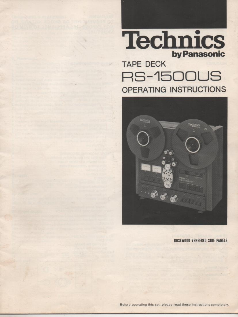 RS-1500US Reel to Reel Owners Manual