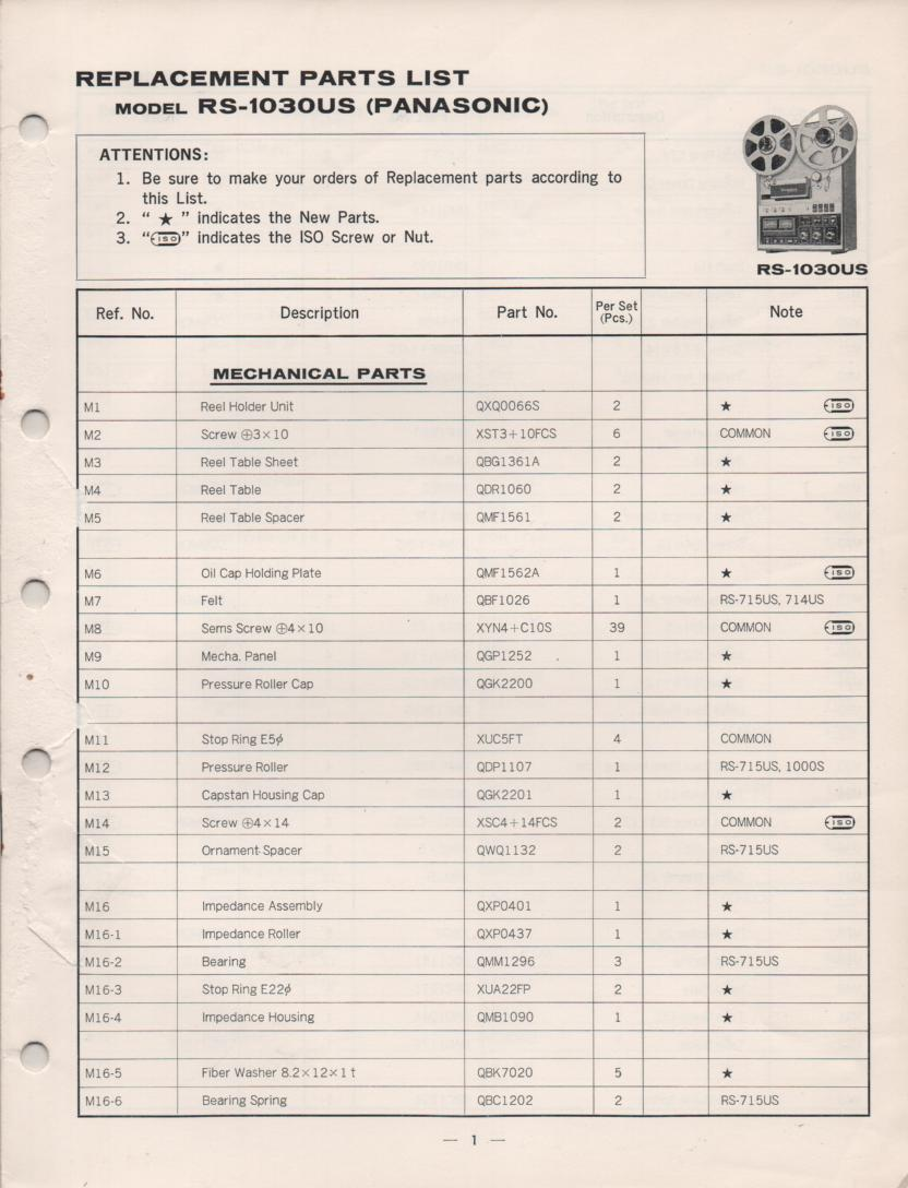 RS-1030US Reel to Reel Parts Service Manual  TECHNICS