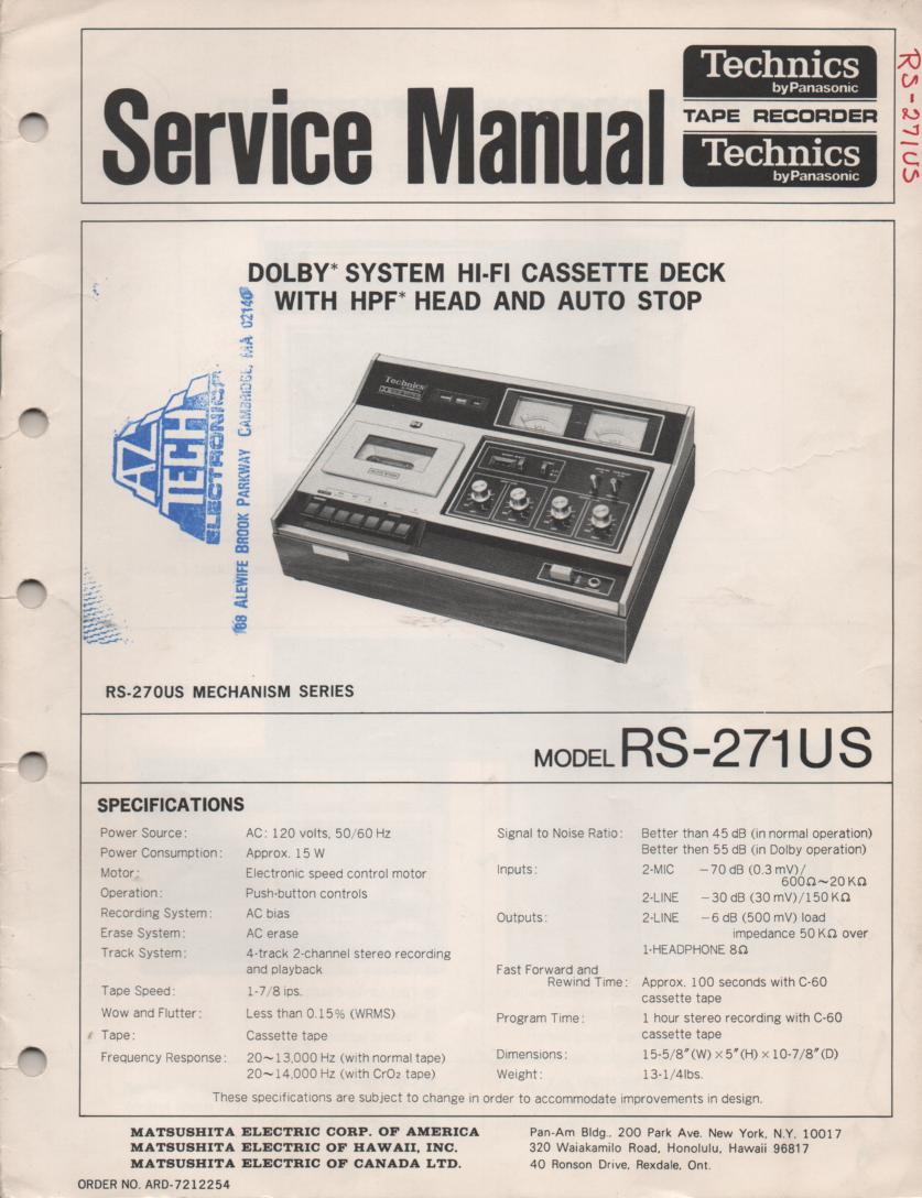 RS-271US Cassette Deck Service Instruction Manual