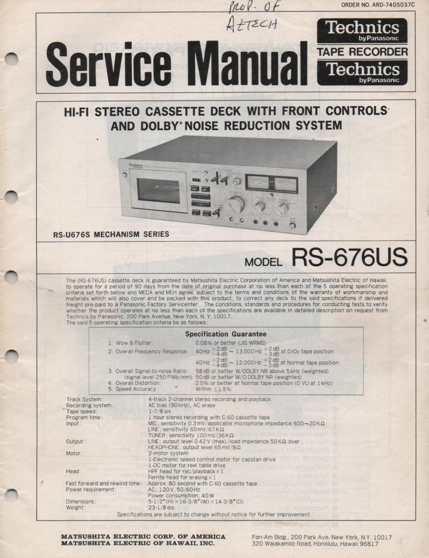 RS-676US Cassette Deck Service Instruction Manual.  2 manual set