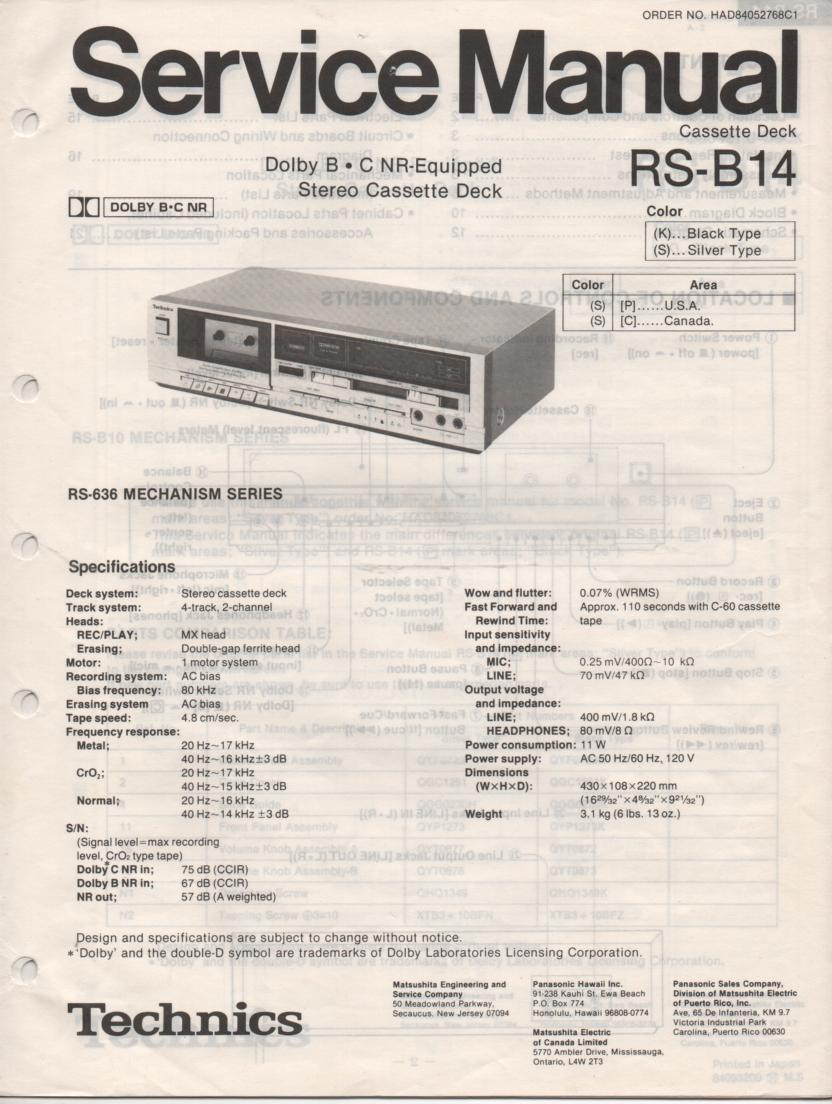 RS-B14 Cassette Deck Service Instruction Manual.