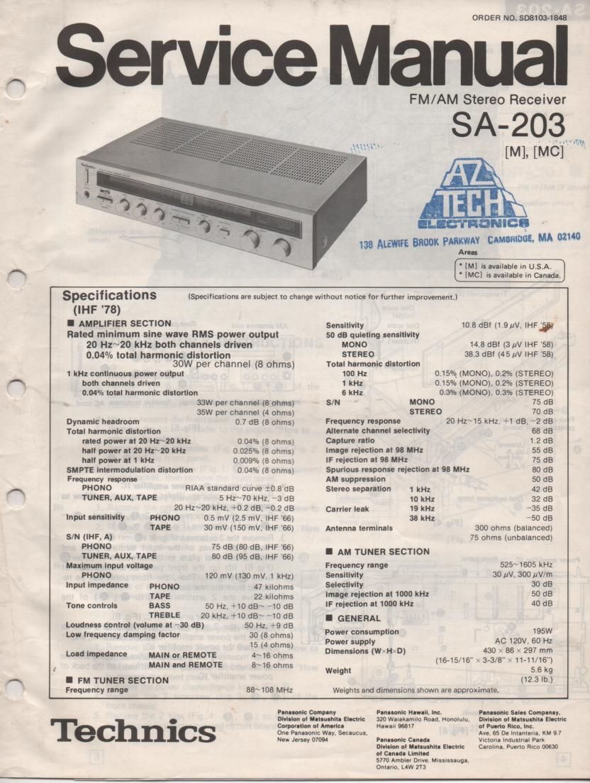 SA-203 Receiver Service Instruction Manual