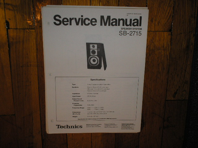 SB-2715 Speaker System Service Manual