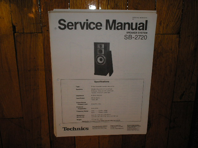 SB-2720 Speaker System Service Manual