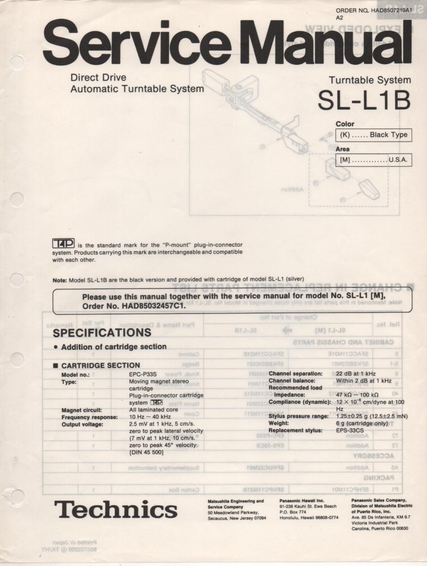 SL-L1B Turntable Service Manual covers M K versions