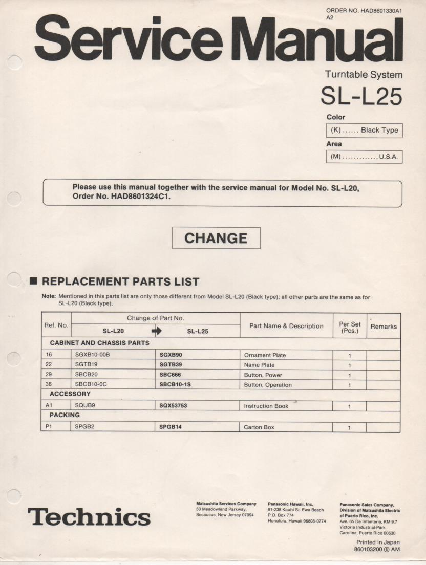 SL-L25 Turntable Service Manual covers M K versions