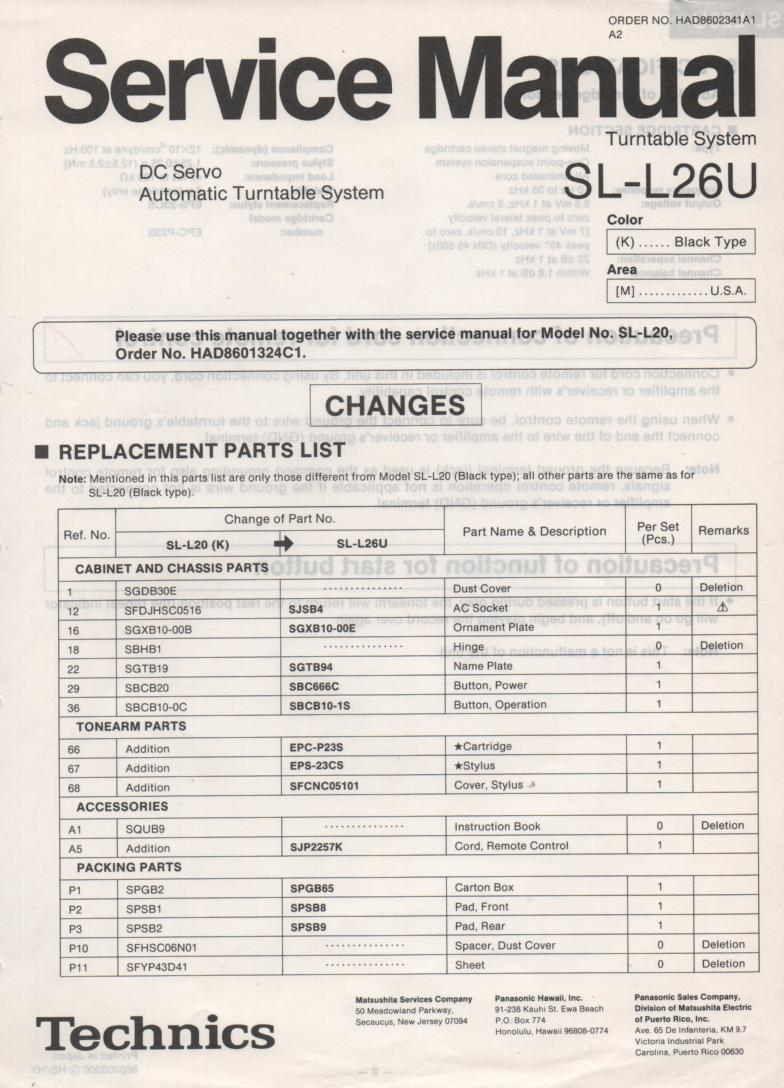 SL-L26U Turntable Service Manual covers M K versions