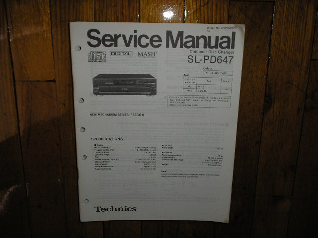 SL-PD647 CD Player Operating Manual