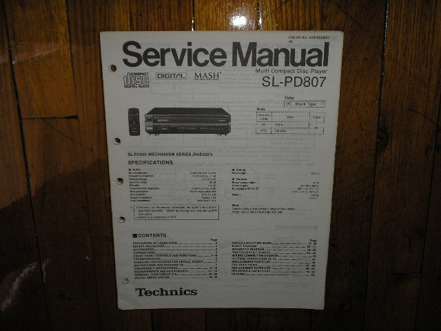SL-PD807 CD Player Service Manual