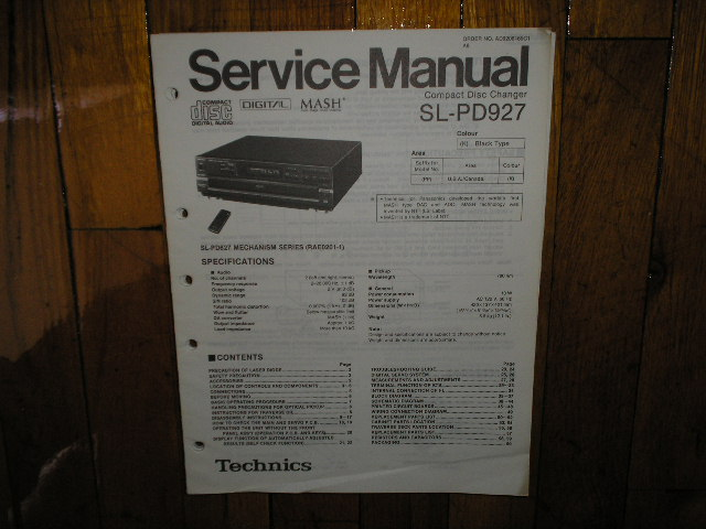 SL-DP927 CD Player Operating Manual