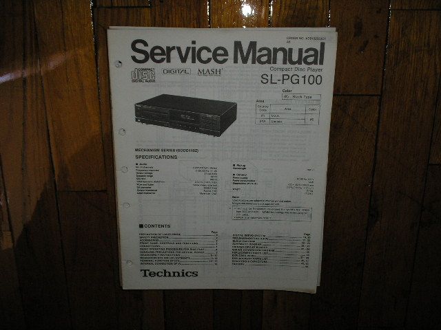 SL-PG100 CD Player Operating Manual