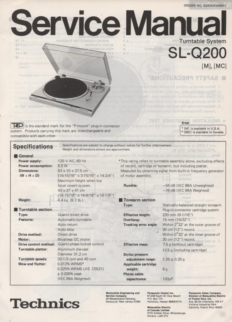 SL-Q200 Turntable Service Manual covers M MC versions.