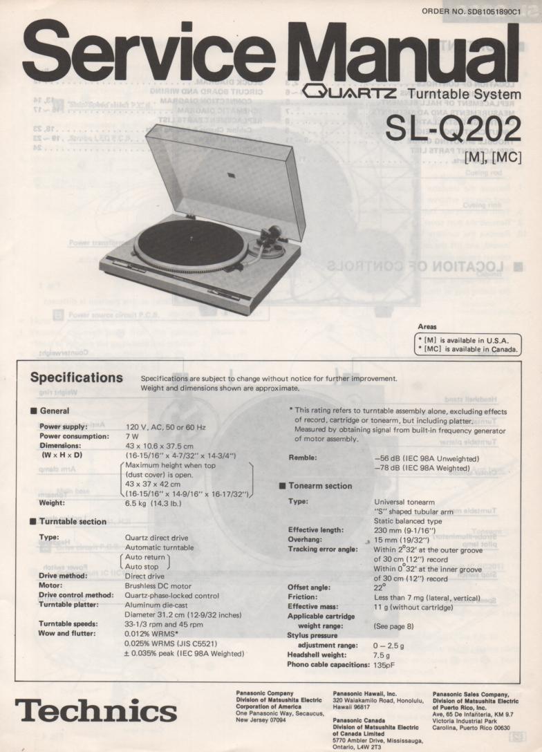 SL-Q202 Turntable Service Manual covers M MC versions.