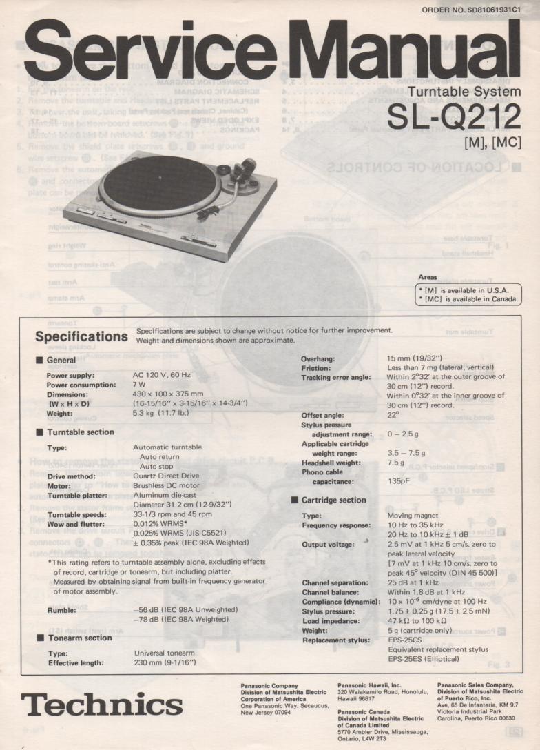 SL-Q212 Turntable Service Manual covers M MC versions.