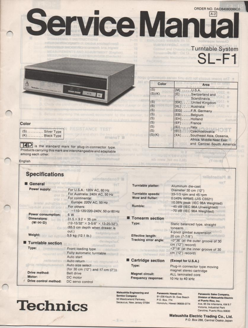 Technics SL-F1 Turntable Service Instruction Manual
