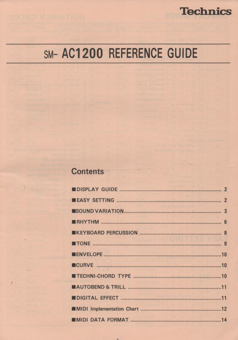 SM-AC1200 Midi Orchestra Reference Guide Instruction Manual