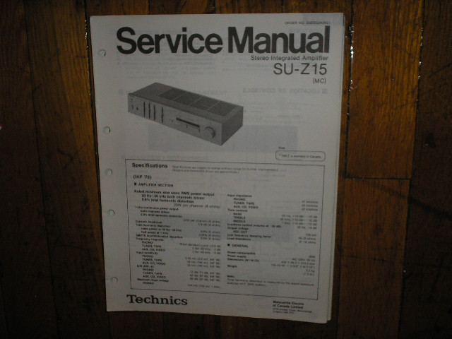 SU-Z15 Amplifier Service Manual