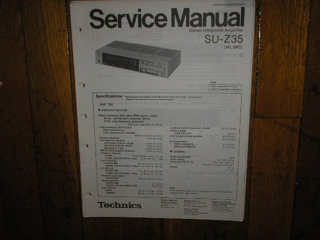 SU-Z35 Amplifier Service Manual