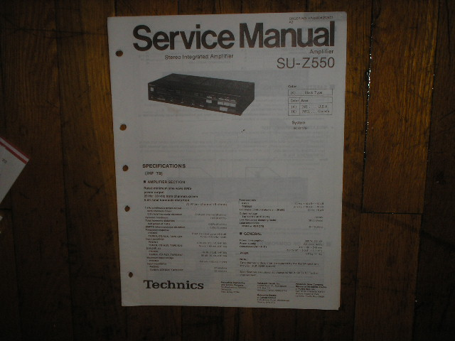 SU-Z550 Amplifier Service Manual