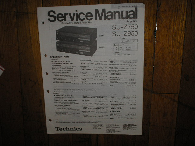 SU-Z750 SU-Z950 Amplifier Service Manual